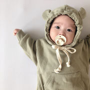 【KID】韓国子供服 ベビー服 長袖ロンパース お熊さん 可愛い 無地 パンツ