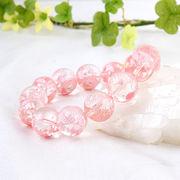 手彫り〈ピンク龍〉水晶(14mm)ブレスレット