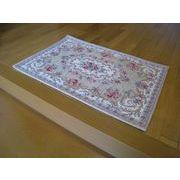 ゴブラン織り玄関マット:ボルドー 60x90 ベージュ