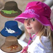 UVカット帽子 - キッズ ハット -  ワイド ブリム バケット クロコダイル