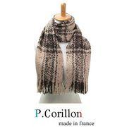 P.CORNILLON (ピー・コルニオン)フランス製 モヘア混 チェックツイードマフラー 2014 新作