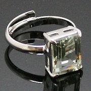 《大きめストーン:フリーサイズ ファッションリング指輪/ファランジリング》 グリーンアメジスト