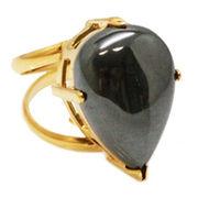 《大きめストーン:フリーサイズ ファッションリング指輪/ファランジリング》 ヘマタイト(Hematite)