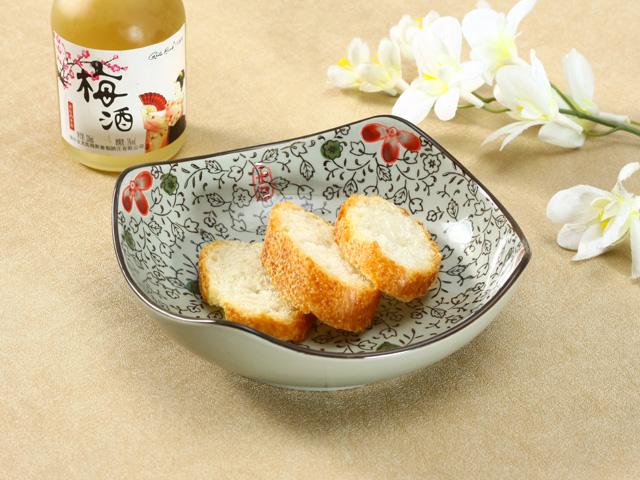 【強化】 8号正角深皿(赤いコスモス)    おうち料亭/中皿/大皿/丸皿/和食器