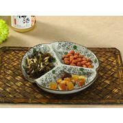 【強化】 7.5号三つ仕切り皿(赤いコスモス)    おうち料亭/中皿/大皿/丸皿/和食器