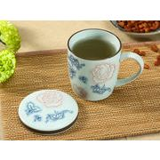【強化】 蓋付マグカップ(赤い大輪薔薇)   コップ/カップ/和食器