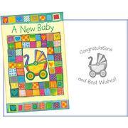 Stockwell Greetings グリーティングカード 出産祝い用 ベビーカー×パッチワーク
