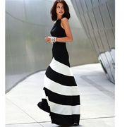 大きなサイズ(XLサイズ)LA風バイカラーデザインAラインロングドレス