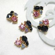 【艶やかカラー】ネイビー サファイヤ ピンク  5個入りジュエルパーツ