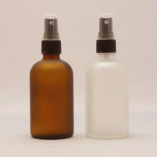 (半透明)&(茶色) 100ml 遮光瓶 スプレー付 フロスト加工ガラスボトル◆詰替え/容器/キャップ付き