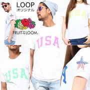 【2017SS新作】 FRUIT OF THE LOOM フルーツオブザルーム Tシャツ B / メンズ レディース USA 星条旗スター