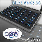 かわいい6種類のデザイン♪ブルーの指輪/ブルーリング36入り