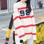 全2色★プレッピー風数字プリントボーダー柄ラウンドネック長袖ミドル丈ゆるニットセーター :VC6924353