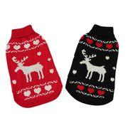 あったか☆トナカイセーター レッド/ブラック (S-XLサイズ) ドッグウェア 犬の服
