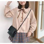 シャツ ブラウス レースアップ ボリューム袖 フリル 無地 ボタン 韓国風 全2色 r3001897