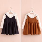 春服 韓国風 新しいデザイン キッズ洋服 女児 ラペル ボトムシャツ + タンクドレス