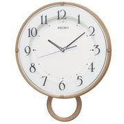SEIKO セイコー 掛け時計 電波 アナログ 飾り振り子 薄茶木目模様 PH206A