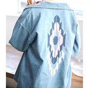 【即配】 オルテガ 刺繍 デニムジャケット ゆったりサイズ 袖刺繍デニム レディース