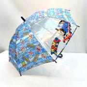 【雨傘】【ジュニア用】1駒ビニールきかんしゃトーマスロゴボーダー柄ジャンプ傘