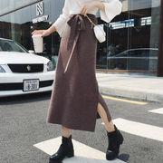 レディース ロング ニットスカート Aラインスカート リボン付き 秋冬   無地 スリット 大きサイズ