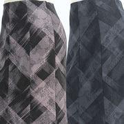 【秋物】レディース スカート 薔薇柄地模様&チェック柄 8枚剥ぎ ロングスカート