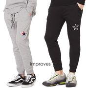 星ワッペン スウェット パンツ メンズ レディース スリム スエット ジョガーパンツ セットアップ 上下 可能