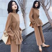着まわし抜群 気質 OL  韓国ファッション 春 新 大きいサイズ ニットスーツ スリム 減齢   2セット