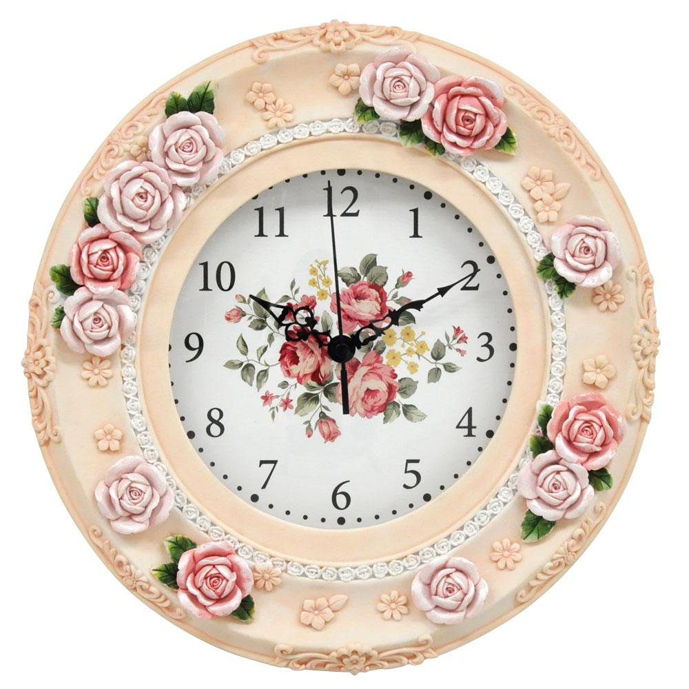 <AMANO>【掛時計】ローズ掛時計・ピンク
