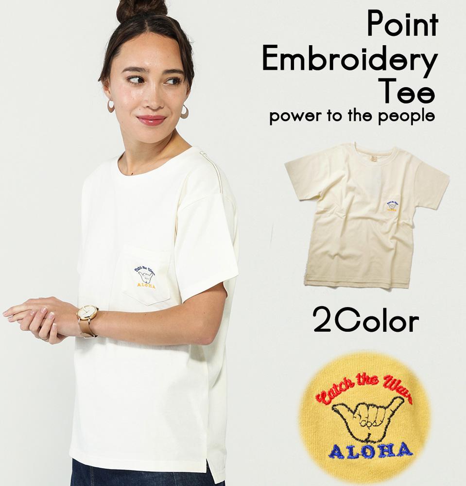 【19SS新作】【実績商品】ALOHA柄ワンポイント刺繍Tシャツ