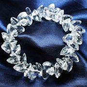 ブレス 高品質の輝き 透明度抜群 ブラジル産クォーツ(水晶) ハートカット 8mm  品番: 6875