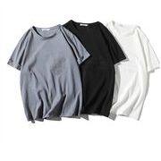 春夏新作メンズTシャツ 丸首トップス 半袖 カジュアル ゆったり 無地♪ホワイト/ブラック/ブルー3色