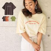T/S 刺繍ロゴTシャツ 半袖 トップス TOPS カジュアル ゆったり ドロップ
