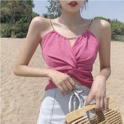 キャミソール 女 夏 新しいデザイン 女性服 韓国風 ねじる 結び チェーン 個性 ホル