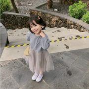 格安!キッズチュールスカート★米欧インスタ映え子供服★ワンピース★秋長袖 ワンピ 7-15選択