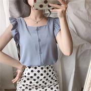 春服 新しいデザイン キクラゲなようなエッジ ベスト シャツ 女 韓国風 スウィート シ