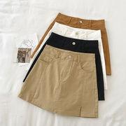 スプリット ハイウエスト スカート パンツ 女 夏 新しいデザイン 韓国風 シンプル 単