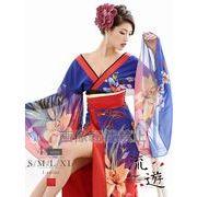 【流遊】大きいサイズ完備!!オリエンタル花柄シフォン花魁ドレス【Ryuyu】キャバクラ着物*504521