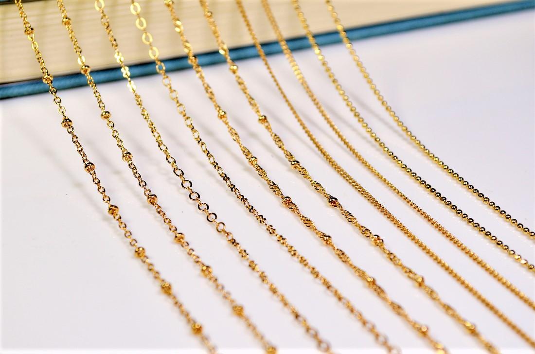 基礎金具【銅99%】極細チェーン ゴールド色&シルバー色 2m=168円