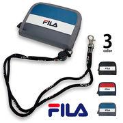 全3色 FILA(フィラ) トリコロールカラー ロゴ デザイン 二つ折り 財布 ネックストラップ 付き ウォレット