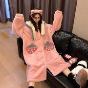 秋冬 スウィート かわいい ナイトドレス 寝る 洋服 女 新しいデザイン 韓国風 ロング