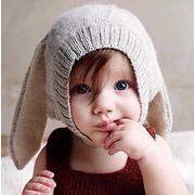 ★暖かい★超可愛いベビー帽子★子供向け帽子★兎耳付き帽子★ニット帽子★4色