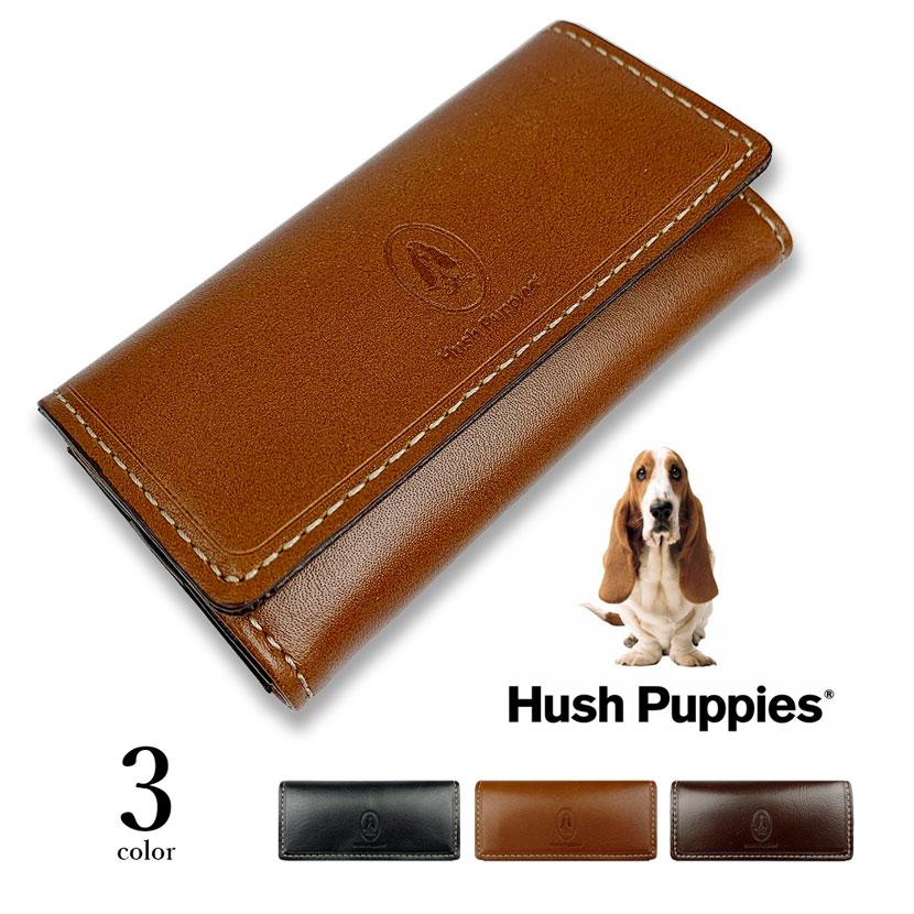 全3色 Hush Puppies ハッシュパピー リアルレザー バイカラー キーケース 三つ折り キーホルダー