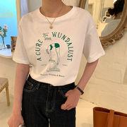 チェストプリント  ドロップショルダー  カジュアルトップ  女性用半袖Tシャツ