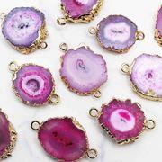 デコパーツ ドゥルージー ソーラークォーツ 瑪瑙 メノウ めのう 水晶 ピンク 装飾 品番:9005