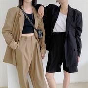 韓国ファッション レディーススーツセットアップ 新作ブレザーコート+パンツ OL通勤 上下セット