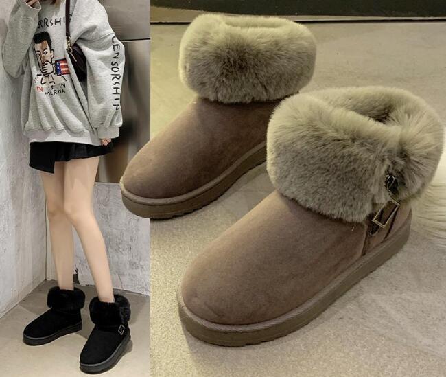 新作ブーツ 靴 ショートブーツ ペタンコ 外履き レディース 冬 厚手 暖か かわいい 人気