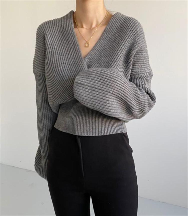 女性らしいシルエット 韓国ファッション スリム  Vネック 交差する ハイウエスト 長袖 ニット セーター