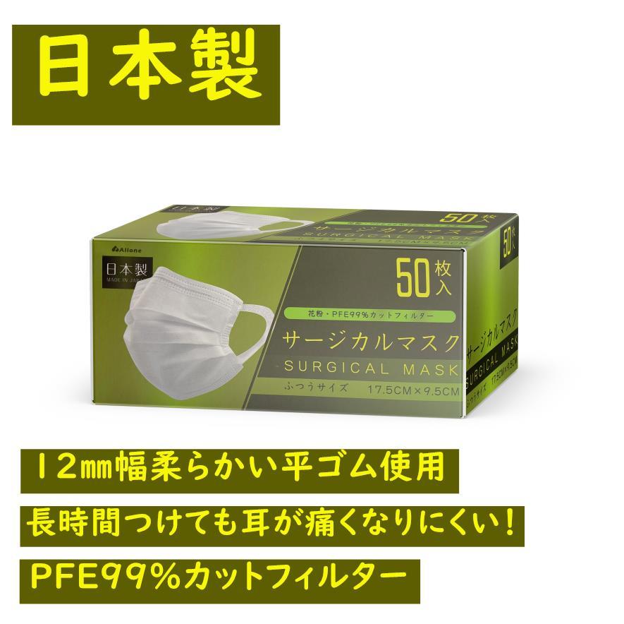 九州自社工場直販 マスク 不織布 日本製 12mm幅広紐採用 サージカルマスク 三層構造不織布マスクL