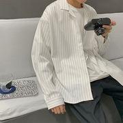 ユニセックス シャツ トライプモノトーン カジュアル  大きいサイズ 韓国風 オシャレ