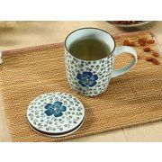 【強化】 蓋付マグカップ(青い椿)   コップ/カップ/和食器